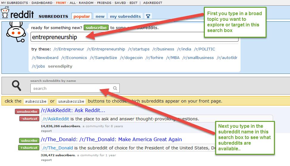 "Searching for ""entrepreneurship"" subreddits in Reddit"