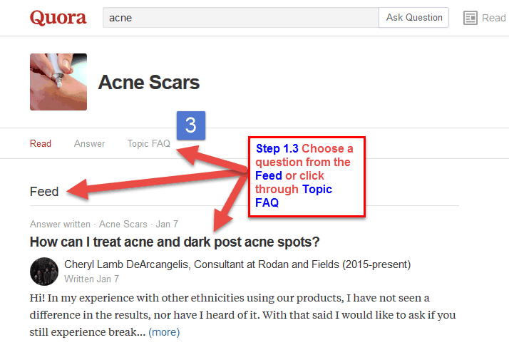 Acne Scars - click through Topic FAQ