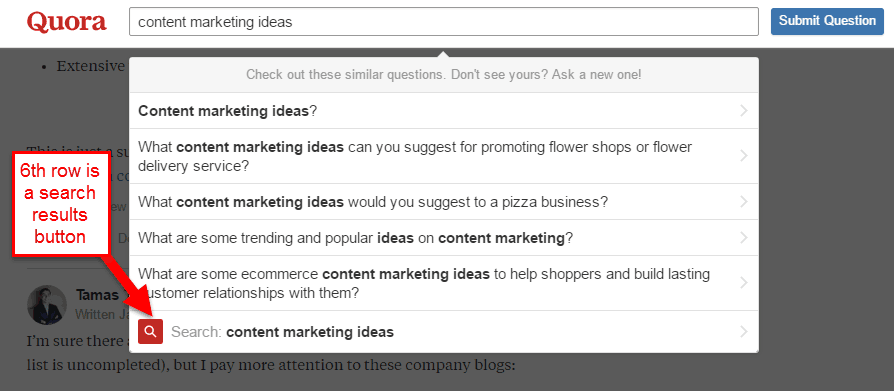 content marketing ideas drop down menu