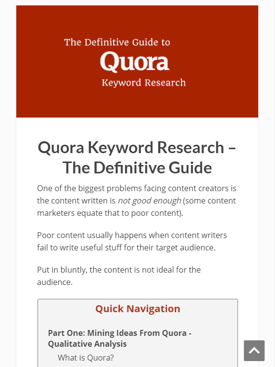 quora keyword research guide first page